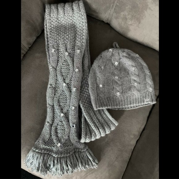 Victoria's Secret PINK Gray Jeweled Scarf and Hat